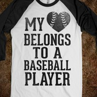 My Heart Belongs To A Baseball Player (Baseball Tee) - Sports Girl