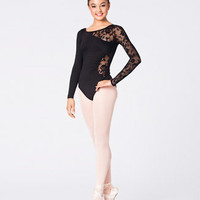 Free Shipping - Lace Detail Long Sleeve Leotard by NATALIE