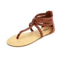Braided Zip-Back T-Strap Sandal: Charlotte Russe