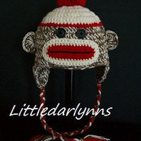Traditional Sock Monkey Hat with Earflaps and by littledarlynns