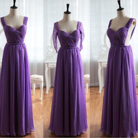 Purple Chiffon Wedding Dress Bridesmaid Dress Prom Dress Sweetheart Open See Through Back