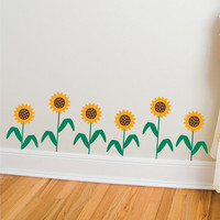 Dancing Sunflowers Vinyl Wall Decal Kit  Bright Golden Yellow with Bent Leaves Large Set of 6