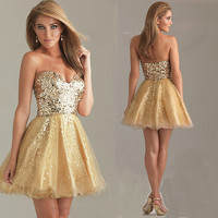 Charming golden sweatheart strapless prom dress from Girlsfriend