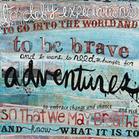 To Be Brave - Huge 16 x 20 paper print  - inspirational or graduation gift with blues, pinks, quotation and typography