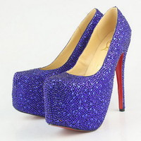 Christian Louboutin Daffodile 160mm Strass Blue Pumps