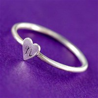 Skinny Heart Initial Stacking Ring - Spiffing Jewelry