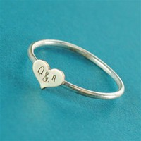 Wide Heart Initials Stacking Ring - Spiffing Jewelry