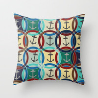 anchors Throw Pillow by Sharon Turner | Society6
