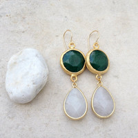spring jewelry fashion long  DUAL fresh dark green & white jade gemstone earrings textured matte gold Israel jewelry