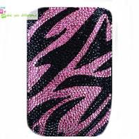 Free shipping iiphone 4 case , iphone 4s case , case for Iphone 4 mobile Case handmade: Real leather full diamond Leopard i89048489 (custom are welcome)