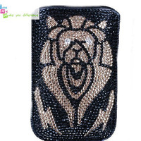 Free shipping iiphone 4 case , iphone 4s case , case for Iphone 4 mobile Case handmade: leather full diamond lion i89048644 (custom are welcome)