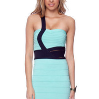 Strapped In Bandage Dress in Mint and Navy :: tobi