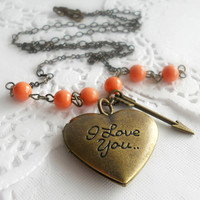I Love You Locket Necklace - Coral, Heart Necklace, Arrow Necklace, Poetically Inspired