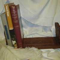 Expanding Carved Wooden Bookend
