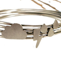 Rain Storm Bangle Stacking Set Cloud Lightning and by DrCraze