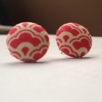 Red & cream patterned fabric button earrings