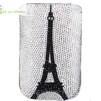Free shipping iphone 4 case , iphone 4s case , case for Iphone 4 mobile Case handmade: Leather diamond Eiffel Tower i89048159 (custom are welcome)