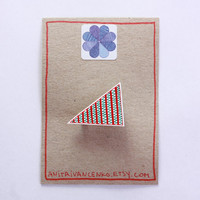 Triangle Brooch. Geometric Brooch. Unisex Design. Red and Green