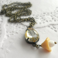 Sparkle - Vintage Glass Champagne Vitrail Gem Necklace