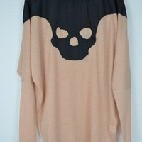Pink Color Fashion Skull Pattern Splice Type Loose T-Shirt [710]