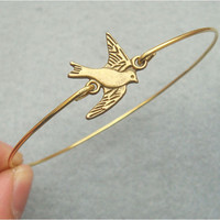 Flying Bird Bangle Bracelet by turquoisecity on Etsy