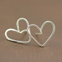 Heart Earrings Simple Silhouette Silver Plated by ArtisanTree