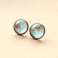 Retro Flower Power Stud Earrings - Free Shipping - Made to order :)