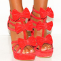 LADIES CORAL PINK BOW STILETTO PLATFORM HIGH HEELS PEEP STRAPPY SIZES 3,4,5,6,7