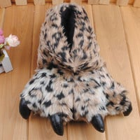 Fluffy animal print shoes 91