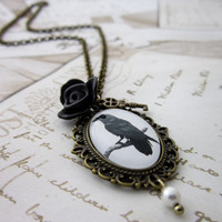 Raven Rose Necklace - Steampunk Gothic Victorian Black Cabochon Pendant
