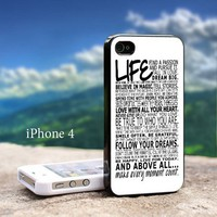 Life Quotes White Letter Iphone 4 / 4s Black Case