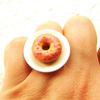 Strawberry Glazed Doughnut Donut Ring by SouZouCreations on Etsy