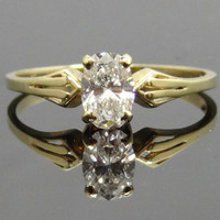 Elegant 14K Yellow Gold Vintage Tapered Design Oval Diamond Engagement Ring - RGDI165P
