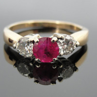 Ruby and Diamond Three Stone Ring, Engagement, Right Hand or Cocktail RGRU209D