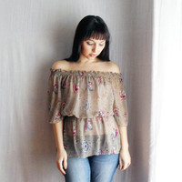 Sand chiffon off shoulder blouse Sizes S/M L/XL by AliceCloset