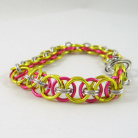 Spring Chainmail Bracelet Yellow and Pink