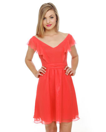 Pretty Coral Dress - Ruffle Dress - $52.00