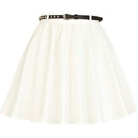Cream stud belted skater skirt