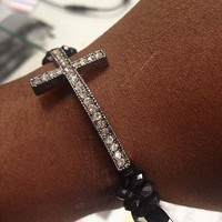 Cross Bracelet Silver Sideways Cross