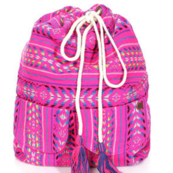 Billabong Canyon Cruz Hot Pink Tribal Print Backpack