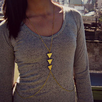 geometric body chain chevron necklace triangle by alapopjewelry