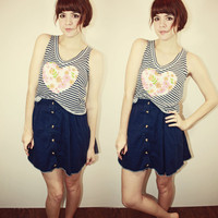 Blue Striped Heart Tank S M | Sam Wish