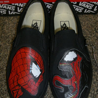"Handpainted Spider-Man vs Venom  Shoes Vans  ""FEATURED ITEM"""