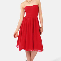 Someday Sweetheart Strapless Red Midi Dress