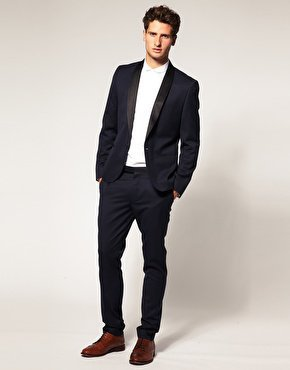 ASOS Slim Fit Navy Tuxedo Suit at ASOS