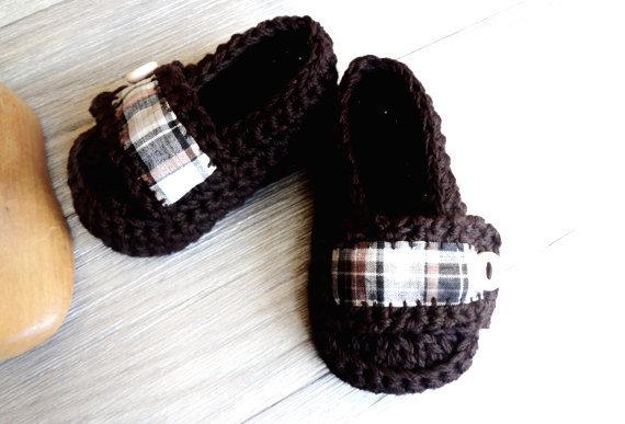 Baby Boy Moccasins Rustic Plaid Brown by beliz82 on Etsy
