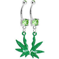 Best Buds Pot Leaf Best Friends Belly Ring Set | Body Candy Body Jewelry