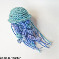 BABY RATTLE JELLYFISH toystuffed animal plush by HandmadeMonster
