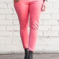 Pink Plus Size Knit Tight Ankle Leggings   Tanny&#x27;s Couture LLC