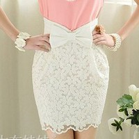 Floral Lace High Waist Skirt with Bow  from Oh My! Fashion